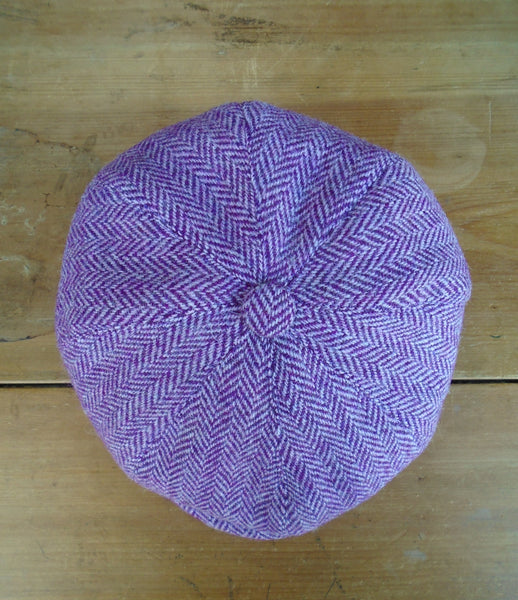 Pink/Purple Herringbone Made To Order Harris Tweed Baker Boy, Newsboy Cap. All Sizes Catered For. Choice Of Linings, And Leather Sweatband Option. Wonderful Tweed, Superior Workmanship. AmiCharnel.
