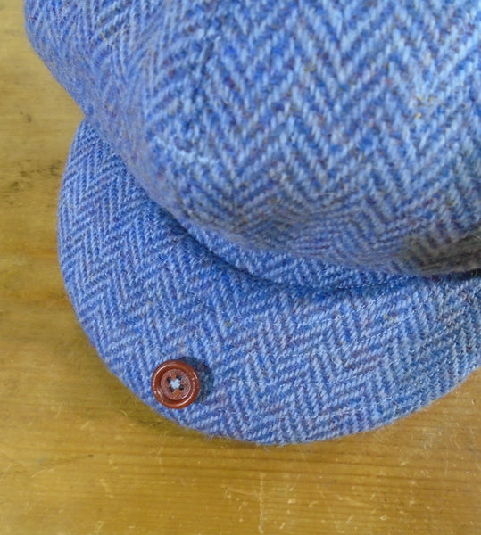 'Harris Tweed' Baker Boy, Newsboy Cap, All Sizes Catered For (Blue herringbone) William Morris