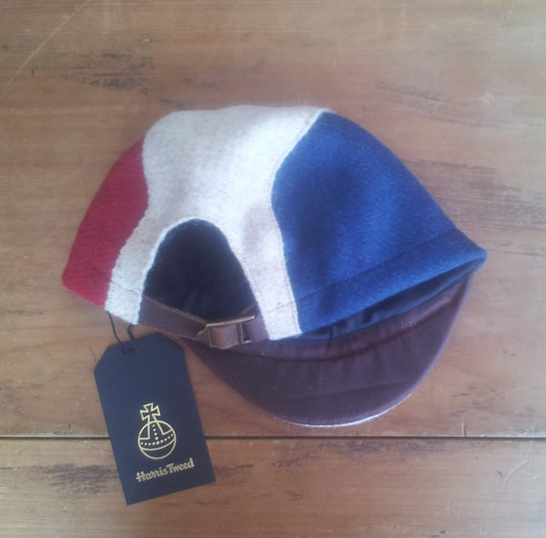 AmiCharnel, Bespoke made to order cycling cap (all sizes catered for) in three wonderful Harris tweeds (red, creme, and blue.) FRENCH