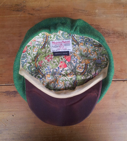 Green Made To Order Harris Tweed Baker Boy, Newsboy Cap. All Sizes Catered For. Choice Of Linings, And Leather Sweatband Option. Wonderful Tweed, Superior Workmanship. AmiCharnel.