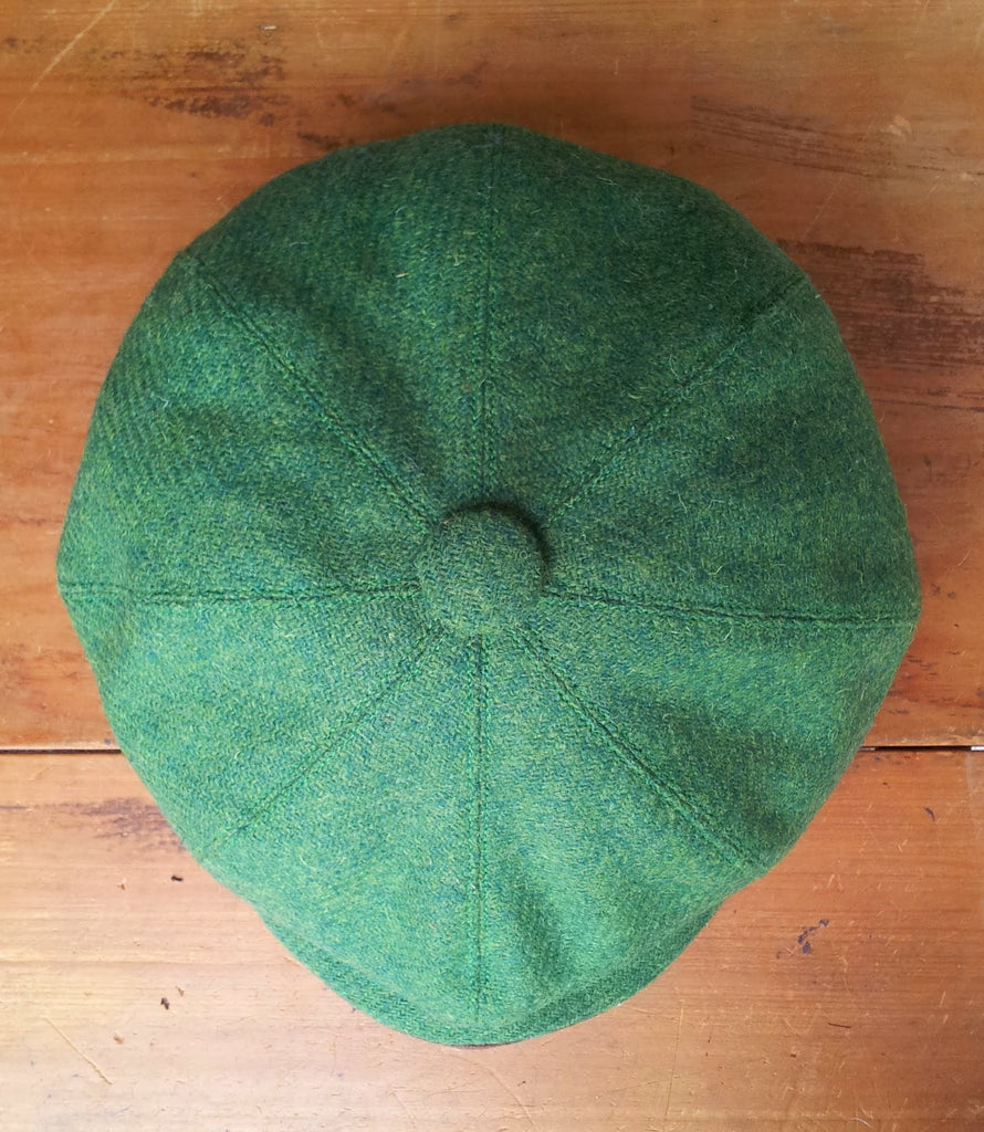 Harris Tweed Baker Boy, Newsboy Cap, Bespoke, All Sizes Catered For (Green )