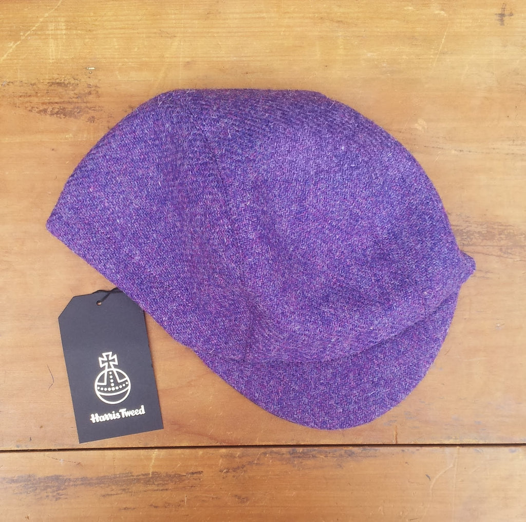 Harris Tweed Cycling Cap, Bespoke, All Sizes Catered For (Bright Purple.)