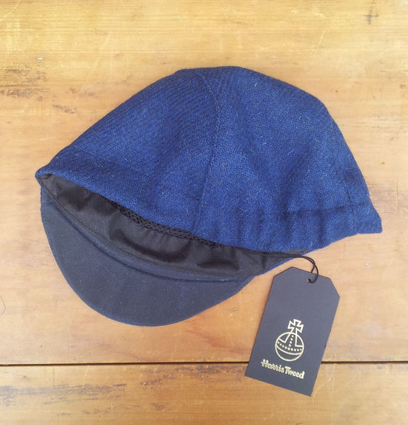 Bespoke made to order cycling cap (all sizes catered for) in wonderful blue Harris tweed. HORWEEN leather strap. AmiCharnel.