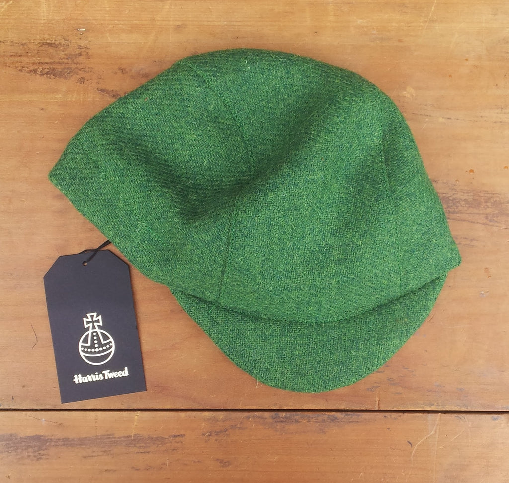 Harris Tweed Cycling Cap, Bespoke, All Sizes Catered For (Bright Green.)