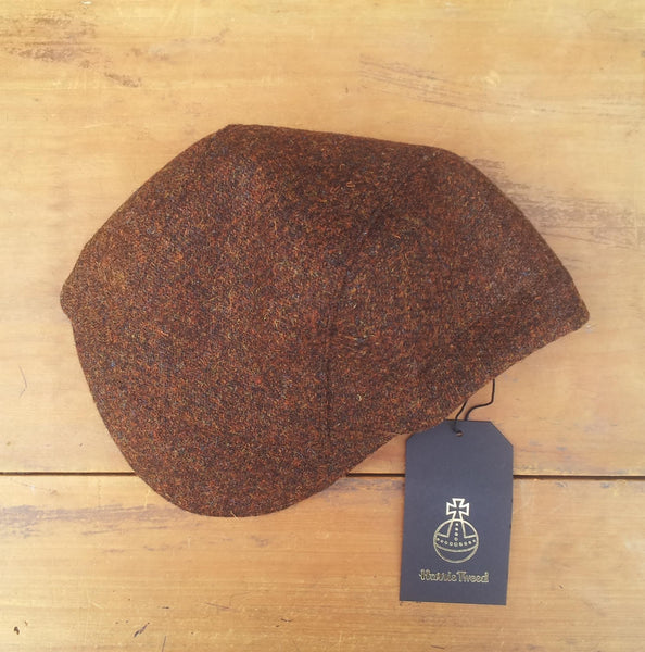 Bespoke made to order cycling cap (all sizes catered for) in wonderful brown Harris tweed. Horween Leather Strap. AmiCharnel.