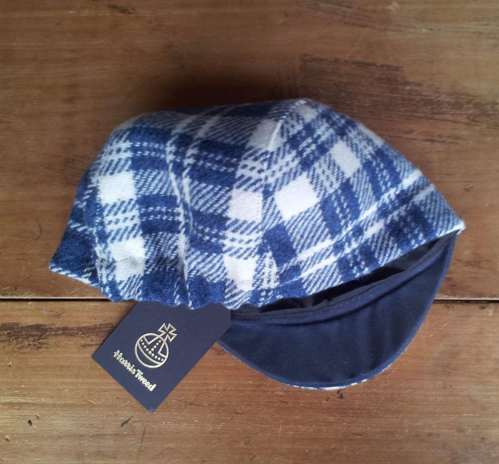 Bespoke made to order cycling cap (all sizes catered for) handmade in wonderful blue and white plaid Harris tweed. HORWEEN leather strap.