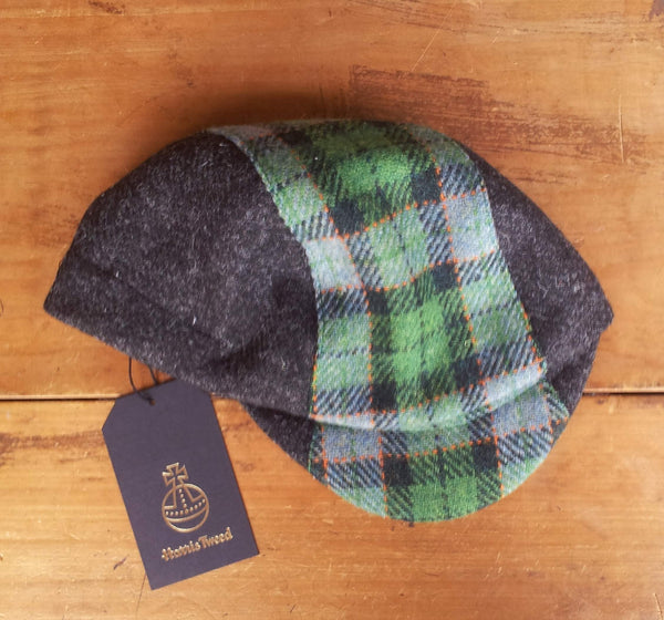 Bespoke made to order cycling cap (all sizes catered for) in wonderful charcoal and green plaid. Harris tweed. Horween Leather Strap.