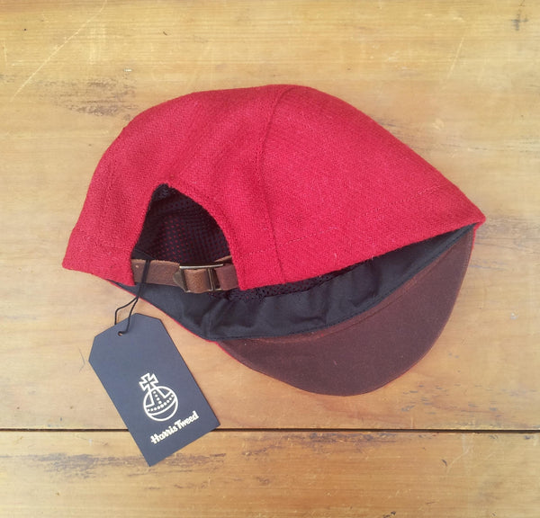 Harris Tweed Cycling Cap, Bespoke, All Sizes Catered For (Bright Red.)