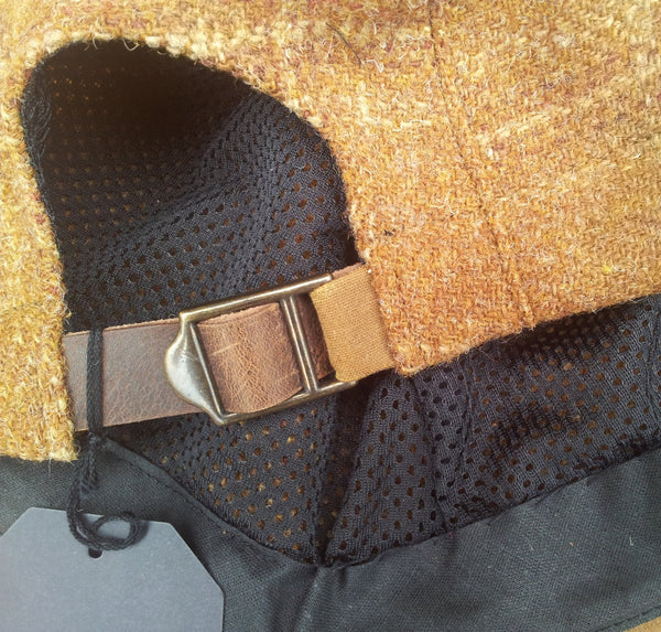 'Harris Tweed' Cycling Cap, All Sizes Catered, AmiCharnel. Butterscotch plaid.
