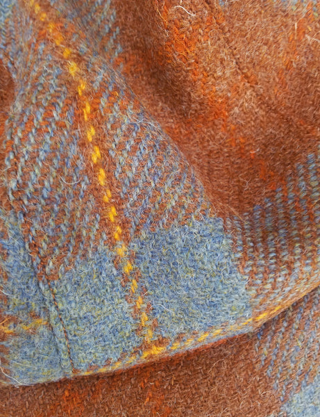 'Harris Tweed' Cycling Cap, All Sizes Catered, AmiCharnel. Orange and pale blue plaid.