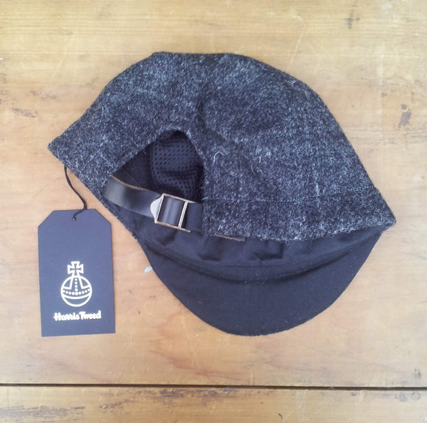 'Harris Tweed' Cycling Cap, All Sizes Catered, AmiCharnel. charcoal plaid.