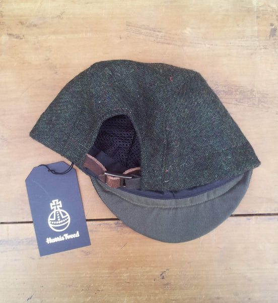 'Harris Tweed' Cycling Cap, All Sizes Catered, AmiCharnel. FOREST GREEN
