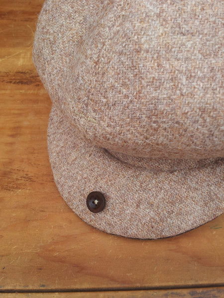 Oatmeal Made To Order Harris Tweed Baker Boy, Newsboy Cap. All Sizes Catered For. Choice Of Linings, And Leather Sweatband Option. Wonderful Tweed, Superior Workmanship. AmiCharnel.