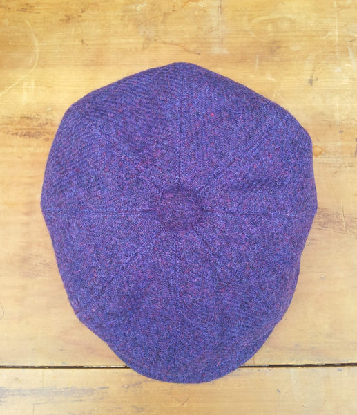 Purple Made To Order Harris Tweed Baker Boy, Newsboy Cap. All Sizes Catered For. Choice Of Linings, And Leather Sweatband Option. Wonderful Tweed, Superior Workmanship. AmiCharnel.
