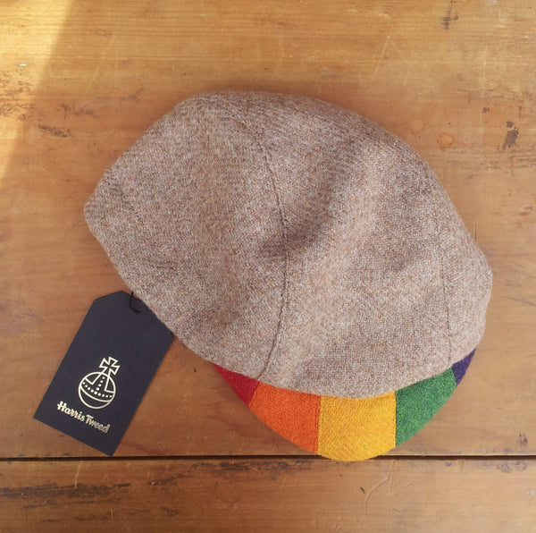 'Harris Tweed' Cycling Cap, All Sizes Catered, AmiCharnel. Oatmeal With Rainbow Peak.