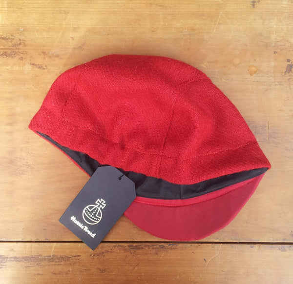 Harris Tweed Cycling Cap, Bespoke, All Sizes Catered For, AmiCharnel (Bright Red.)
