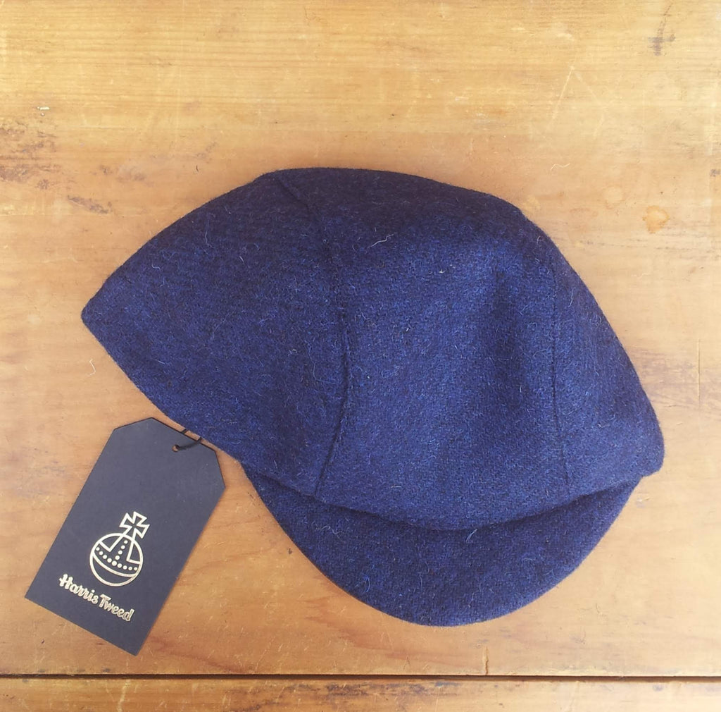 Harris Tweed Cycling Cap, Bespoke, All Sizes Catered For, AmiCharnel (Blue.)