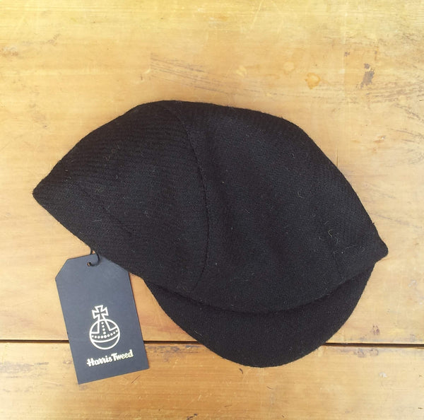 Harris Tweed Cycling Cap, Bespoke, AmiCharnel (Black.)