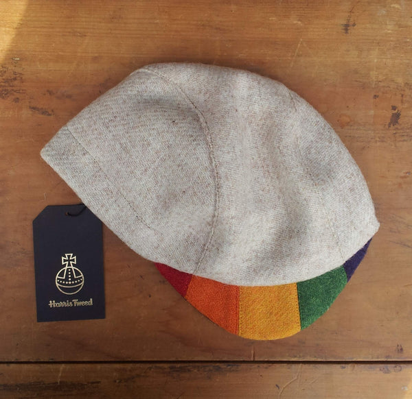 'Harris Tweed' Cycling Cap, All Sizes Catered, AmiCharnel. Cream With Rainbow Peak.