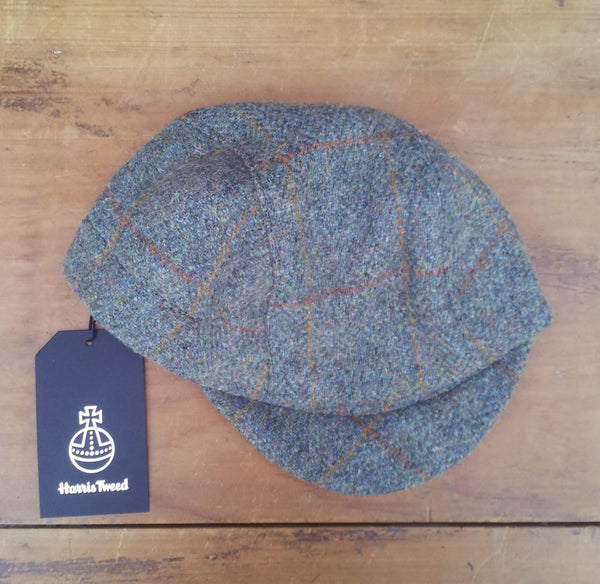 Bespoke made to order cycling cap (all sizes catered for) in wonderful  window pane patterned Harris tweed. HORWEEN leather strap. AmiCharnel.
