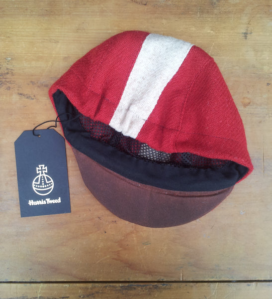 AmiCharnel, Bespoke made to order cycling cap (all sizes catered for) Handmade in red Harris Tweed with white stripe.