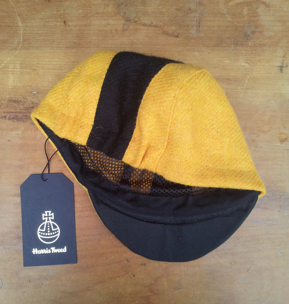 AmiCharnel, Bespoke made to order cycling cap (all sizes catered for) Handmade in Harris Tweed, Yellow With Black Stripe, Horween leather strap.
