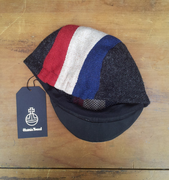 Bespoke made to order cycling cap (all sizes catered for) in three wonderful Harris tweeds (red, creme, blue, and black.) FRANCE. Horween Leather Strap.