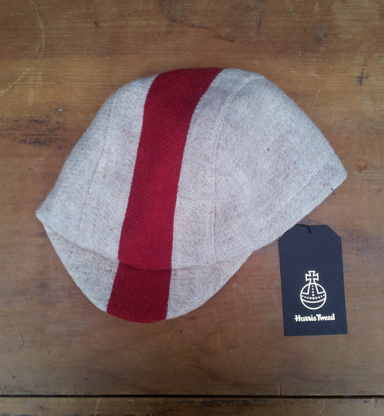 AmiCharnel, Bespoke made to order cycling cap (all sizes catered for) Handmade in Harris Tweed white with red stripe. Horween Leather Strap.