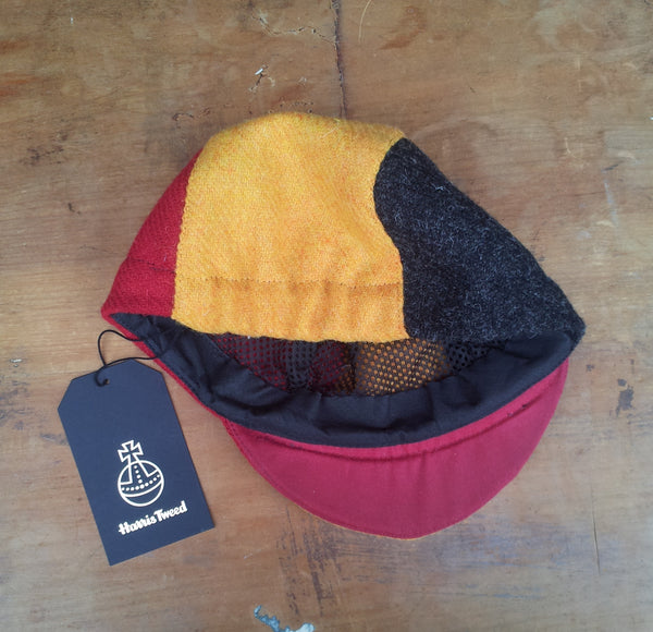Bespoke made to order cycling cap (all sizes catered for) in three wonderful Harris tweeds (red, yellow, and black.) BELGIUM. Handmade with Horween leather strap option.