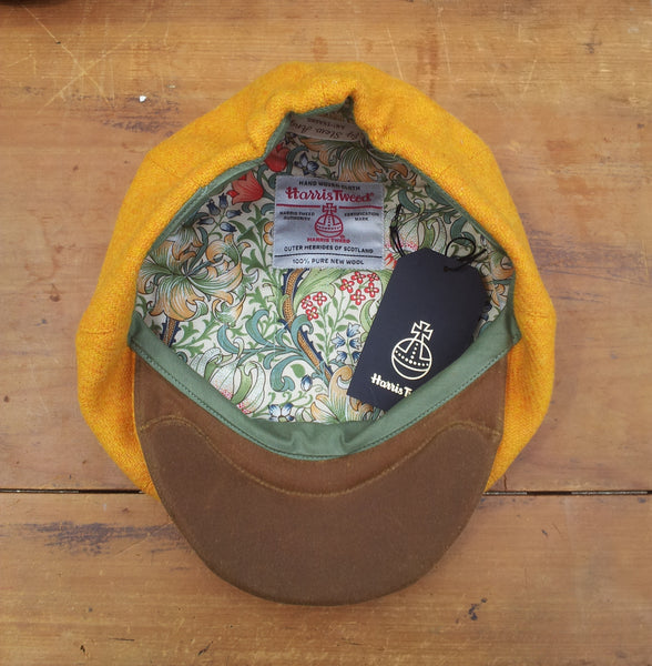 Amicharnel bespoke yellow bakerboy newsboy cap hat William Morris lining