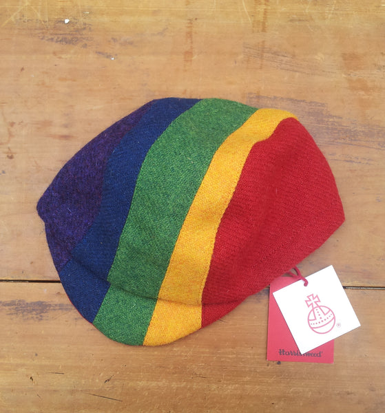 Harris Tweed Cycling Cap, Bespoke, All Sizes Catered For (RAINBOW)
