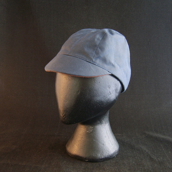 Waxed Cotton Cycling Cap, Bespoke, Three/Five Panel (waterproof) BLUE, Fully Lined.