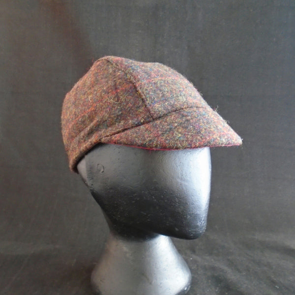 'Harris Tweed' Cycling Cap, Bespoke, All Sizes Catered For, Fully Lined (tartan.)