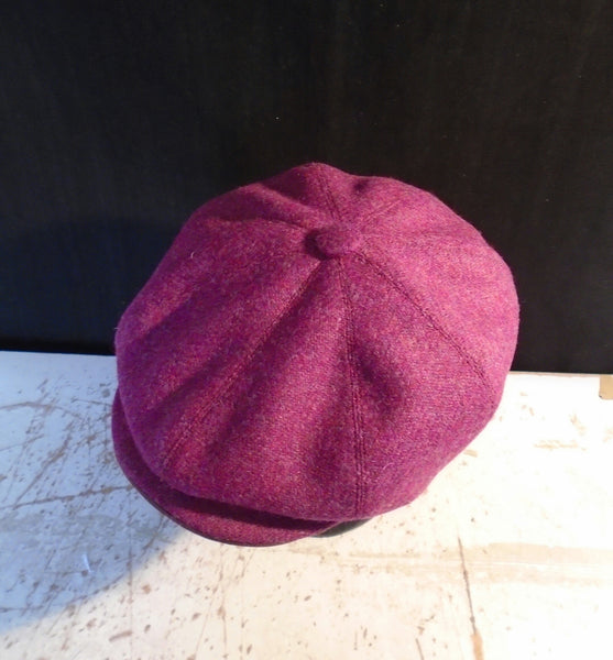 'Harris Tweed' Baker Boy, Newsboy Cap. Bespoke, All Sizes Catered For (Pink)