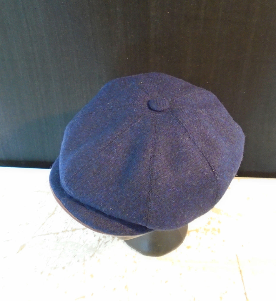 b30da20f Navy Blue Bespoke Harris Tweed Baker Boy Newsboy Cap | Amicharnel.