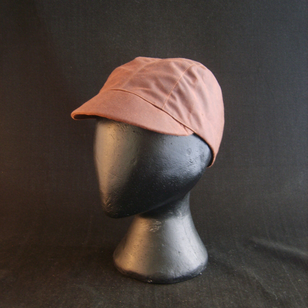 Waxed Cotton Cycling Cap, Bespoke, Three Panel (waterproof) CHESTNUT, Fully Lined.