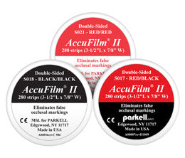 "ACCUFILM II, double-sided articulating film (280 strips 7/8"" x 3-1/2"") Red/Red S021 - Parkell       GIFT CARDS     -  $5, , PARKELL - Canadian Dental Supplies, office supplies, medical supplies, dentistry, dental office, dental implants cost, medical supply store, dental instruments, dental supplies canada, dental supply, dental supply company"