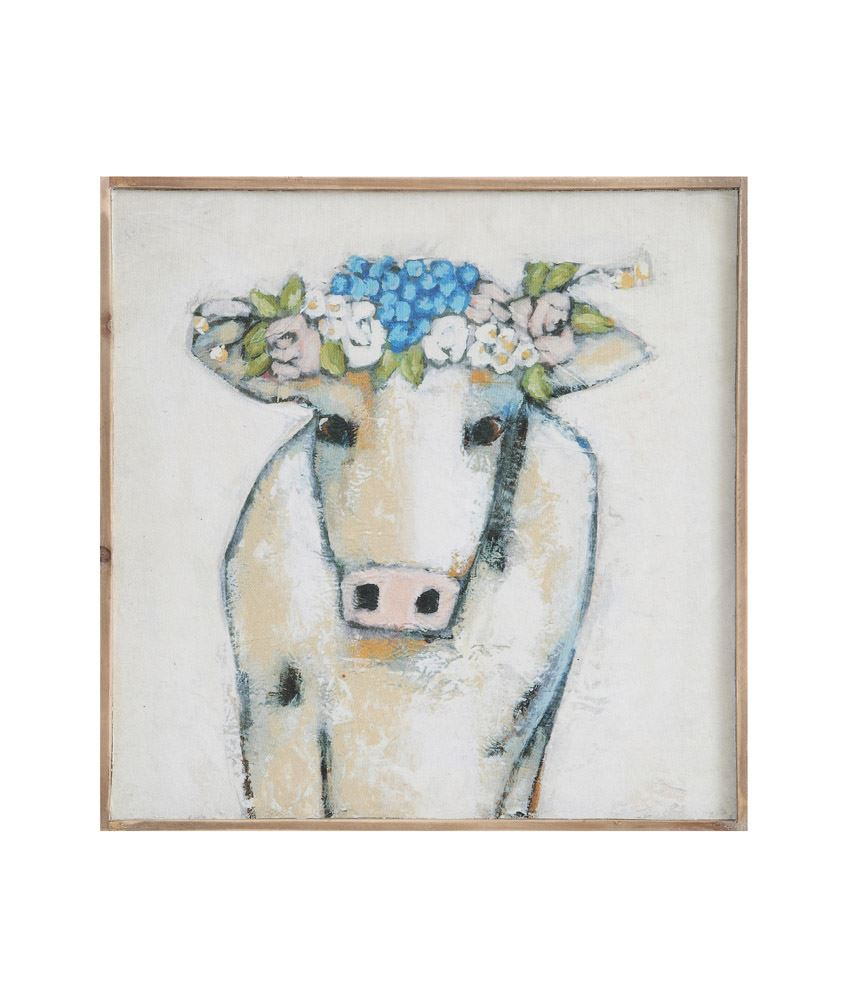 "Cow with Flowers on Framed Canvas 20"" square"