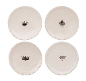 "Rae Dunn Crown Salad Plates 6"", Set of 4"