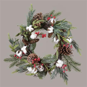 Holiday Pine cone & Cotton Wreath
