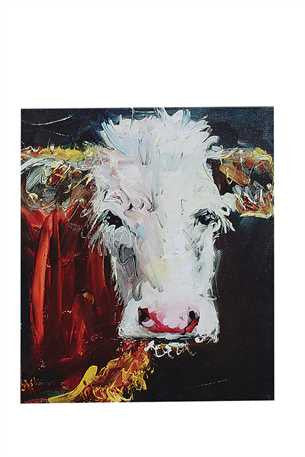 Cow Eating Hay Canvas Art