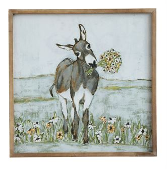 Donkey with Sunflowers on Framed Canvas