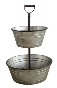 Metal 2 Tier Bucket w/ Wood Handle