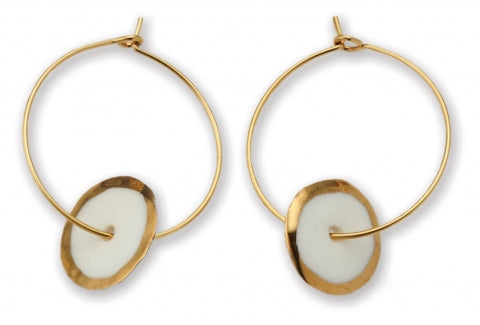 Gold Edge Circle Hoop Earrings