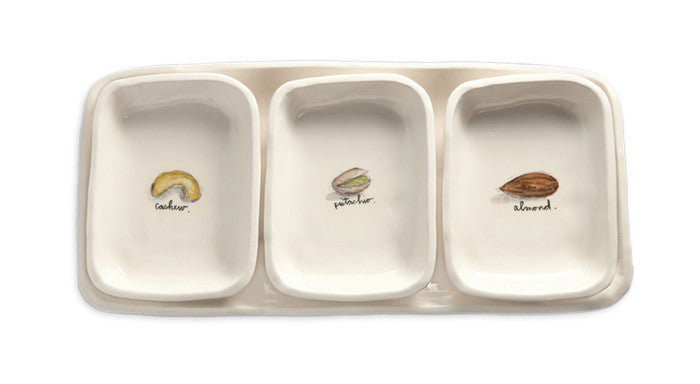 Rae Dunn Tray with 3 dishes, Nuts