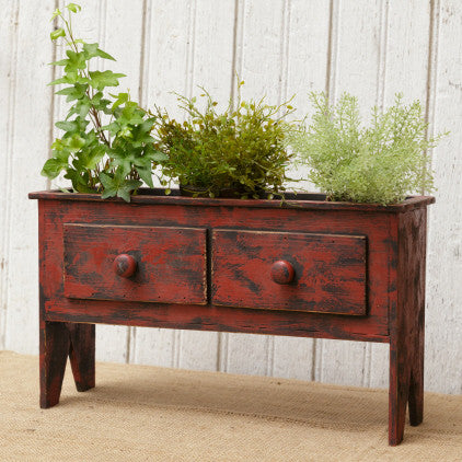 Red Cabinet Planter