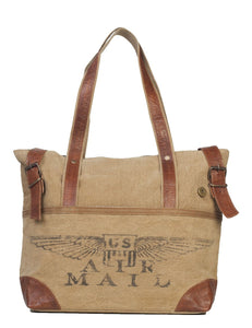 "Recycled 17x4x12"" US Air Mail Tote Bag"