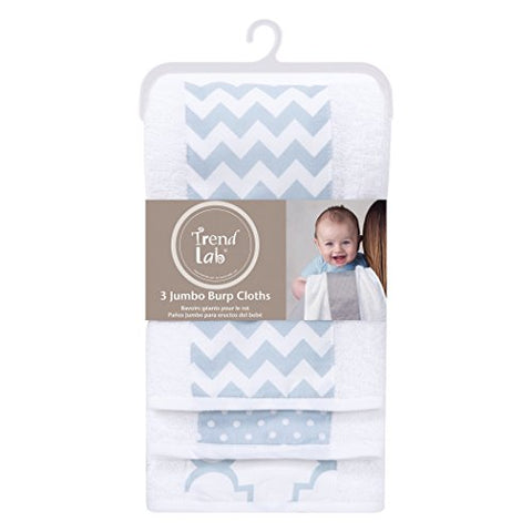 Trend Lab 3 Pack Jumbo Burp Cloth Set, Blue Sky