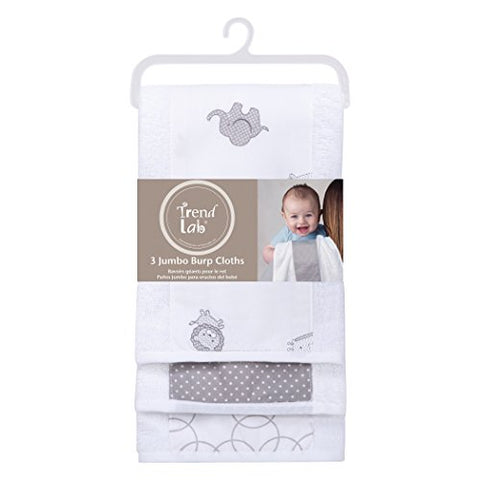 Trend Lab 3 Pack Jumbo Burp Cloth Set, Safari Gray