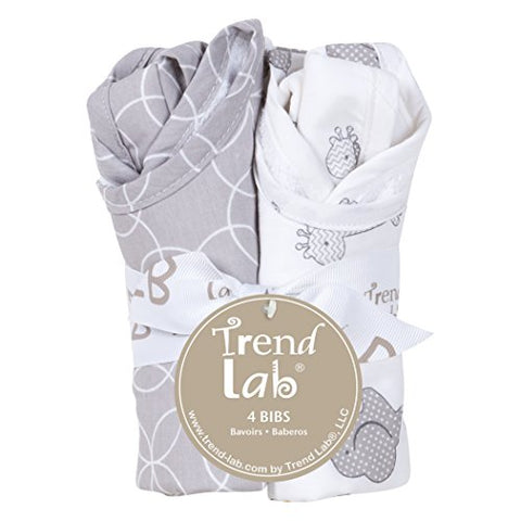 Trend Lab Circles 4 Piece Bib Set, Gray/White